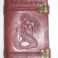 Leather Journal Beautiful Mermaid Emboss Pure Genuine Leather Bound Blank Diary/Journal/Notebook with Lock Gift