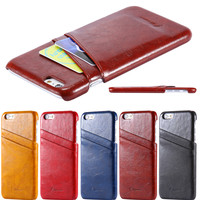 6 Plus Oil Wax PU Leather Back Card Holder Cover For Apple iphone 6 Plus 5.5'' Ultra Thin Mobile Phone Case For iphone 6 Plus