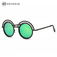 AEVOGUE Sunglasses Women 2016 Newest Vintage Round Reflective Coating Lens Sun Glasses Brand Designer UV400 AE0349