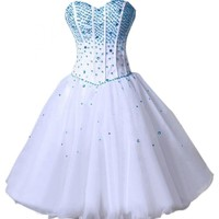 Emma Y 2014 Sweetheart Blue Sequins Homecoming Party Gowns Short
