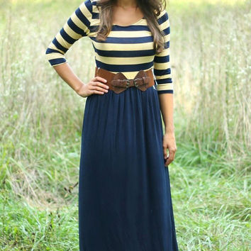 Striped Print Navy Jersey Maxi Dress