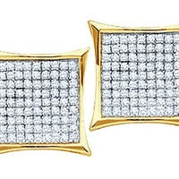Round Diamond Ladies Micro Pave Fashion Earrings in 14k Gold 0.15 ctw