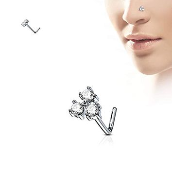 WildKlass Three Prong Set Round CZ Triangle 316L Surgical Steel L Bend Nose Stud Rings