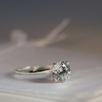 2 Carat Cubic Zirconia Sterling Silver Ring Hearts & Arrows Cut Diamond Simulant Engagement Solitaire Sizes 2-13