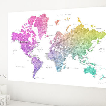 World map with cities, canvas print in colorful gradient watercolor style