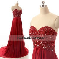 Red sweetheart prom dress,red long evening dress,handmade beading chiffon red formal women dress,wedding party dress