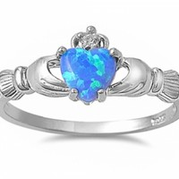 Irish Claddagh Heart Cubic Zirconia Ring .925 Sterling Silve @ Jewelry Wonder