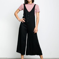 Cropped Linen Twill Jumpsuit