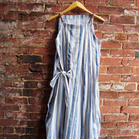 Summer Breeze Pleated Dress/Upcycled Dress/Navy and White Sundress/Medium Small/Rebirth Recycling