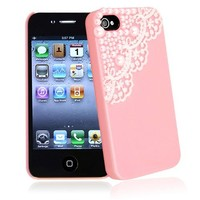 eForCity Snap-on Case compatible with Apple iPhone 4 / 4S, Pink with Lace and Pearl
