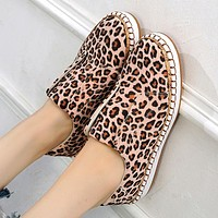 Fashion leopard print platform shoes snake print swing stitching casual flat shoes Leopard grain