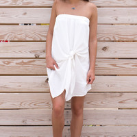 Simply Sweet Off The Shoulder Knot Dress - White