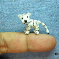 Micro Baby Tiger - Mini Tiny Dollhouse Miniature Crochet Tan Tiger - Made To Order
