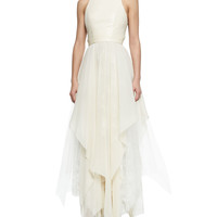 Jennifer Gown with Leather Bodice & Handkerchief
