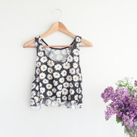 90's Grunge FLORAL Crop Tank Top~ Summer Festival Clothing~ Black Floral Shirt - Hipster Crop Tops~ Vintage Women's Clothing~ Medium Large