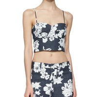 Karel Floral-Print Crop Top, Size: