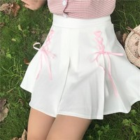 Women's Skirts Ladies Kawaii College Style Fresh Bow Tie Ribbon Pleated Skirt Female Korean Harajuku Clothing For Women Casual