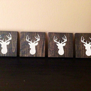 Deer Head Silhouette Wood Coasters, Set of 4, Stained and Hand Painted, Home decor