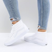 Vans Classic Sk8 Hi Trainers In All White at asos.com