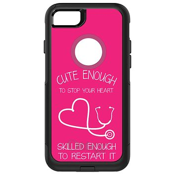 DistinctInk™ OtterBox Commuter Series Case for Apple iPhone or Samsung Galaxy - Hot Pink Nurse Stethoscope Heart