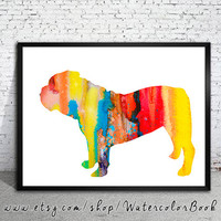 English Bulldog 2 Watercolor Print, Children's Wall, Art Home Decor, dog watercolor,watercolor painting, English Bulldog ,animal watercolor