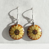 Lovely Flower Art Earrings, Sterling Silver Wood, Sunflower Earrings, Light Dangle Earring, Hand Painted Earrings, Wood Jewelry by Artdora