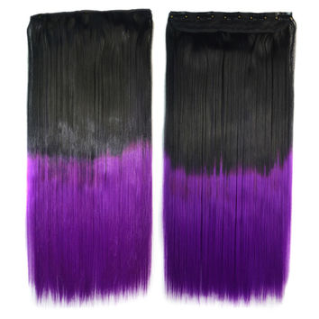 Dyed Long Straight Hair Extension Gradient Ramp Wig    black to violet