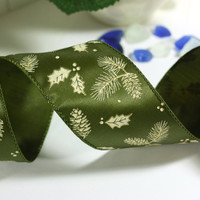 Green Christmas Ribbon: Green Wire Edged Ribbon with Gold Glitter Leaves with green edge - 3 yards - 2 1/2 inch wide