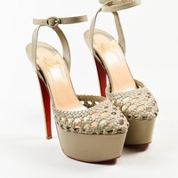 DCCK Christian Louboutin Taupe Leather Woven Ultra High Platform Sandals