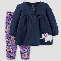 Baby Girls' 2 Piece Set Elephant Navy/Purple Floral - Just One You™ Made by Carter's®
