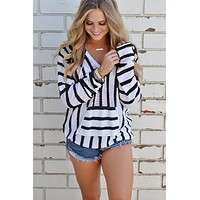 Black Casual Striped Hooded Sweater Sweater