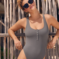 Aerie Henley One Piece Swimsuit, Smoked Gray