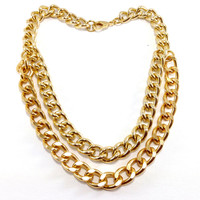 Gold Chain Double necklace, Gold Necklace, Gold Chain, Statement necklace, Chain Necklace, Oversized chain, Gold Choker, Layered Necklace