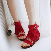 Women Tassel Buckle Flats Gladiator Sandals Wedge Heel 3279