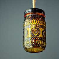 Hand Painted Mason Jar Lantern Goldenrod Tinted Glass by LITdecor