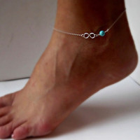 New Sexy Simple Bead Infinity Silver Plated Anklet Ankle Bracelet Foot Chain Hot = 1705986628