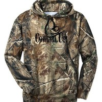 Cowgirl Up Camo Hoodie Country Girl Deer Outdoor Hunt Gun Pink Lady Sports S-3XL
