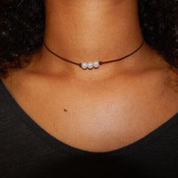 High Quality Pearl and Leather Necklace Choker +Gift Box +Free Summer Gift Necklace