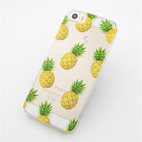 Cute Fruit Pineapple Flowers Transparent Case Cover For iPhone 5S 5C 6 6 Plus