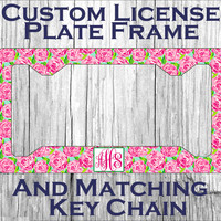 Custom Monogrammed personalized license plate frame. Lily Pulitzer inspired Vanity car tag frame #2083