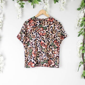 Vintage Floral Animal Print Blouse