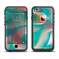 The Vivid Turquoise 3D Wave Pattern Apple iPhone 6/6s Plus LifeProof Fre Case Skin Set