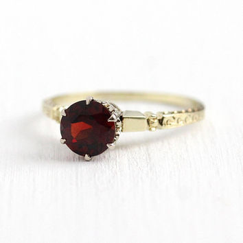 Vintage Garnet Ring - 14k Yellow Gold Dark Red .82 ct Gemstone - Art Deco 1930s Size 7 3/4 Fine Basket Style Setting Filigree Fine Jewelry