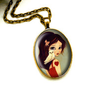 Owl Necklace Girl Jewelry - Owlways Oval Pendant by thelittlefox