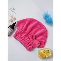 Bow Decorated Hair Drying Cap