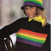 Rainbow striped pullover sweater hat vintage knitting pattern PDF Instant Download fitted black sweater vintage knitting pattern 1970s