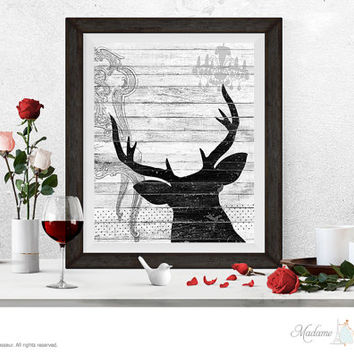 printable art deer art digital collage instant download art print antler prints DIY art print wall art prints rustic art prints home decor