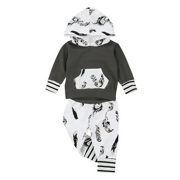 2017 Autumn Infant Baby Boy Long Sleeve Hoodie Leaf Print Tops +Pants Outfits Clothes Set
