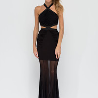 Lovely Evening Cut-Out Ruched Maxi Dress GoJane.com