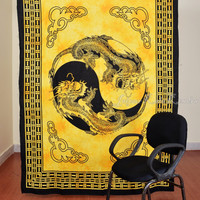 Thai Dragon Print Yellow Tapestry Hippy Wall Hanging Indian Throw Bedspread Queen Bed Decor Ethnic Sheet Decorative Art